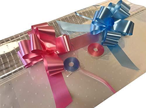 Inerra cadeau/cadeaumand verpakking set - 2 meter witte punt film overtrekken (gevouwen), baby blauw en baby roze strikken met bijpassende ringband banden