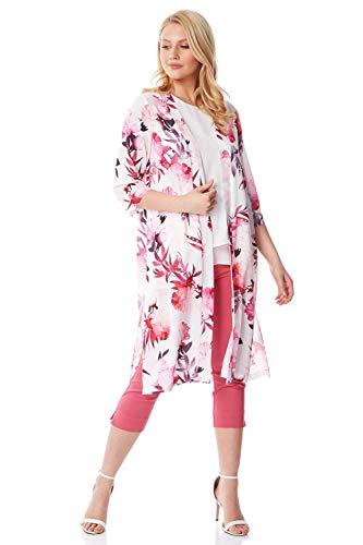 Roman Originals - Chaqueta de kimono floral para mujer, manga 3/4, de crepé de seda, cócteles de noche, verano, vacaciones, playa, hippy