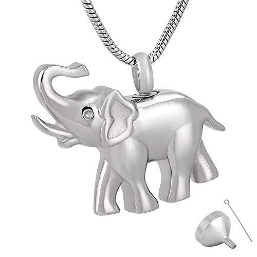 QFV Collar con Colgante de Elefante de joyería de cremación de Acero Inoxidable