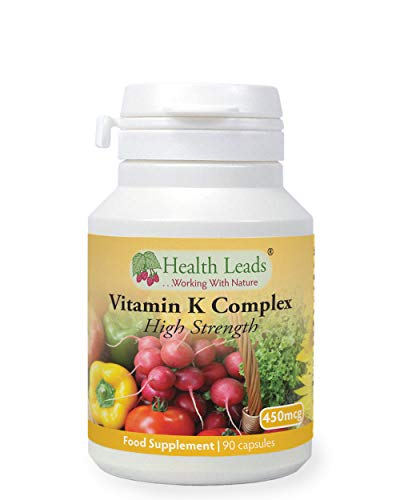 Vitamin K Complex High Strength Food Supplement 450µg x 90 Capsules, Magnesium Stearate Free, Vitamin K contributes to The Maintenance of Normal Bones & Normal Blood clotting, Made in Wales