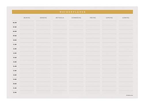 Wochenplaner • DIN A4, Creme • 50 Blatt • Edles Design • Block, Plan, Organizer, Wochenplan