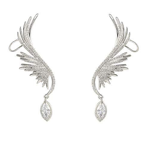 Pendientes de alas de ángel - Pendientes colgantes de diamantes de imitación de alas de ángel Pendientes de alas de águila voladoras, personalidad llena de diamantes Pendientes de gama alta (Plata)
