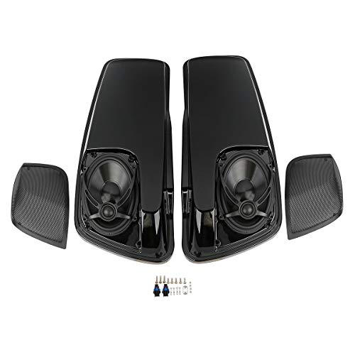 "XFMT ABS Saddlebag Lids W/ 5"" x 7"" Speakers & Grills for Harley Touring Road King Electra Street Glide 2014-2020"