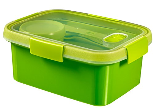 CURVER | Smart Lunch box rect 1.2L avec couverts, Vert, Smart, 20,3x15,4x8,8 cm