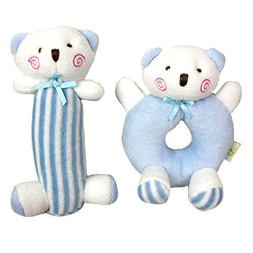 Bciou - Sonajero de peluche para recién nacido, juguete para recién nacido, diseño de oso azul