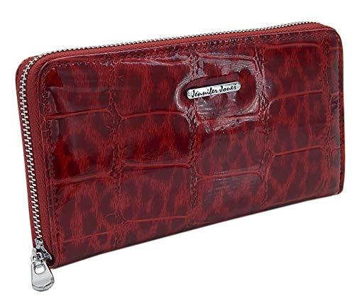 Damen-Geldbörse Portemonnaie Geldbeutel Brieftasche aus echtem und hochwertigem Leder in eleganter Hochglanz Kroko-Optik (Rot-Kroko)