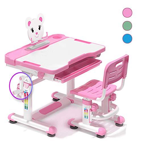 DBMGB Schreibtisch Kinder Höhenverstellbar, Kinderschreibtisch für Mädchen und Jungen, Schülerschreibtisch mit Stuhl und Drehbarem Bücherregal, Kinderzimmermöbel (Blau, Rosa, Grün)