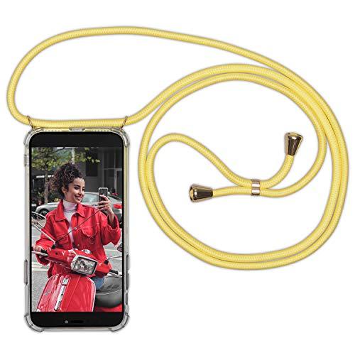 Expatrié Laccio Cover Porta Telefono Compatibile con Samsung Galaxy S10 Plus Giallo Lola Cordino Custodia per Il Telefono in Silicone Trasparente con Cinturino - Elegante Necklace Case Trasversale