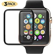 Apple Watch Screen Protector 3 Pack Update 3D Clear Scratch Resistant Anti-Bubble Tempered Glass Film Compatible with Apple iWatch Series 1/2/3-38mm