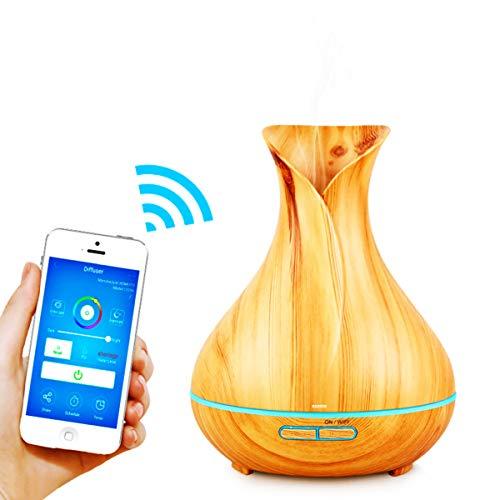 Alexa Difusor Aromaterapia WiFi,GXZOCK Humidificador Ultrasónico Aceites Esenciales 400ml 7-Color LED 2 Modos de Nieble Controlable por Vía Wifi y Voz Compatible Con Amazon Alexa y Google Home