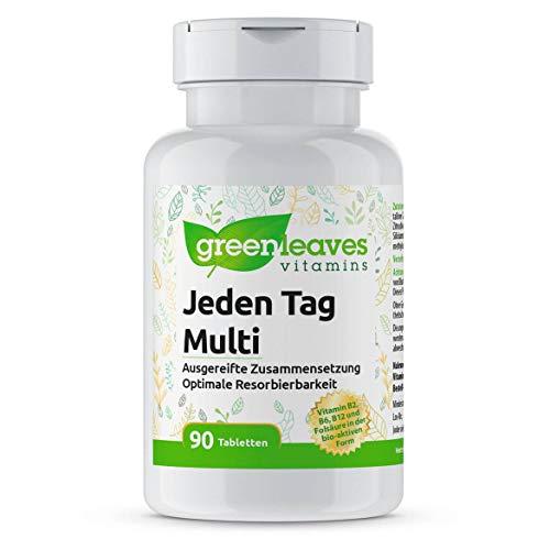 Greenleaves Vitamins - Jeden Tag Multi 90 Tabletten B2, B6, B12, Folsäure, K2, Vitamin D, Lutein, Zeaxanthin, Q10
