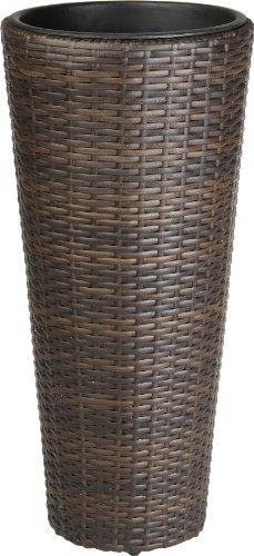 Weles GMBH Pot à Fleurs en résine tressée Gartenfreude avec Insert en Plastique pour l'intérieur et l'extérieur, de Couleur Marron Bicolore, 28 x 60 cm