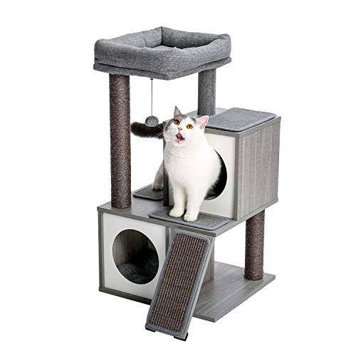 PAWZ Road キャットタワー 猫タワー 安定 クッション 取り外し 手入れ簡単 交換用フェルト付き 交換用ボール付き 据え置きタイプ グレー 木製