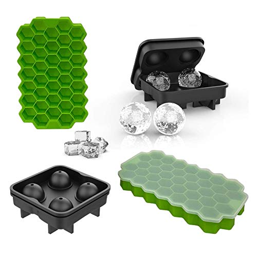 ALLADINBOX 4 Pack of Ice Cube Trays-2 Pcs Silicone Ice Cube Molds with Lids Flexible 74-Ice Trays and 2 Pcs Sphere Ice Ball Maker with Lid,Stackable Flexible Safe Ice Cube Molds