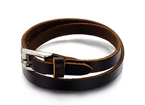 Gudeke Marrón hombres del cuero genuino de los brazaletes de la aleación de la pulsera de la hebilla para el brazo, medida adaptable
