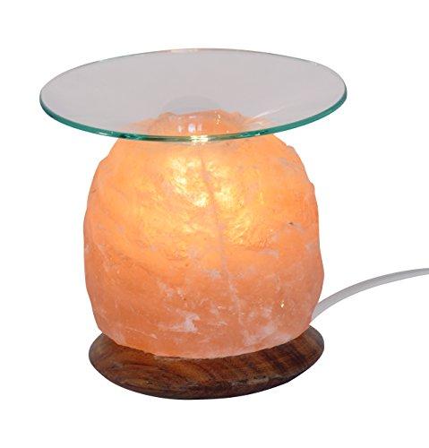 HIMALAYA SALT DREAMS - Salzkristall Aromalampe NATUR mit Holzsockel - inklusive Glasschale, Elektrik und Spezial-Leuchtmittel (E14)