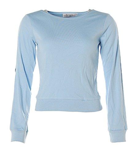Miss Petrolio Mädchen Langarm Shirt U-Boot Ausschnitt geschlitze Arme Sky 170
