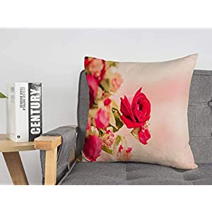 Decorative Linen Square Throw Pillow Cover Sand Red Memories Rose Love Pink Valentine On Beach Valentines Day Sympathy Flower Nature Textures Modern Design Cushion Case for Car Bed 20 x 20 Inch