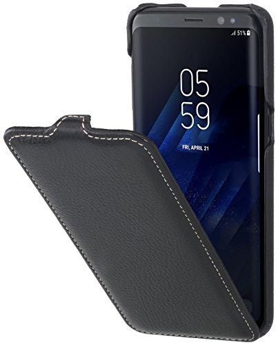 StilGut UltraSlim Hülle Hülle Leder-Tasche für Samsung Galaxy S8. Dünnes Flip-Hülle vertikal klappbar aus Echtleder für das Original Samsung Galaxy S8, Schwarz