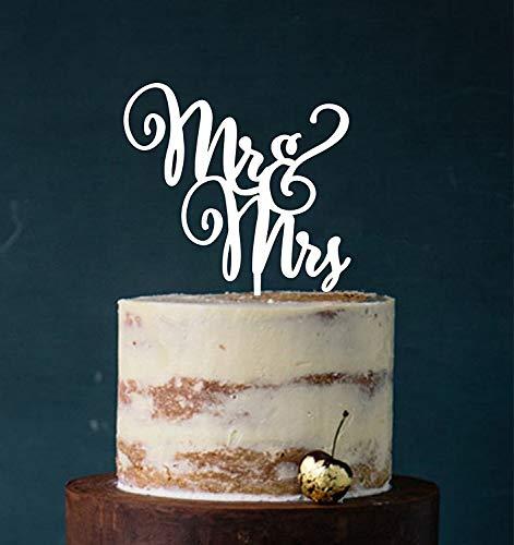 Cake Topper, Mr & Mrs, Farbwahl - Tortenstecker, Tortefigur Acryl, Tortenständer Etagere Hochzeit Hochzeitstorte Kuchenaufstecker (Weiß) Art.Nr. 5231