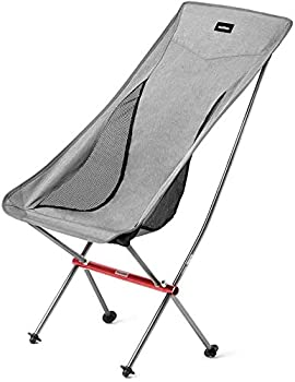 Naturehike Ultralight High Back Folding Camping Chair Outdoor Backpacking Compact & Heavy Duty Outdoor Camping BBQ Beach Travel Picnic Festival with Carry Bag  Grey