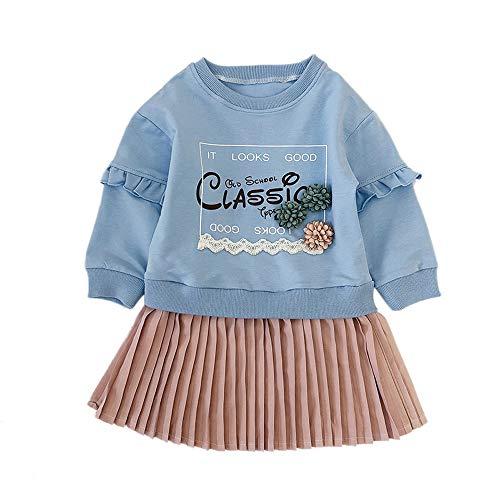 Robe de Princesse Fille,Mamum Bébé Filles Outfit Vêtements Impression Sweat-shirt Jupe (11(4Ans))