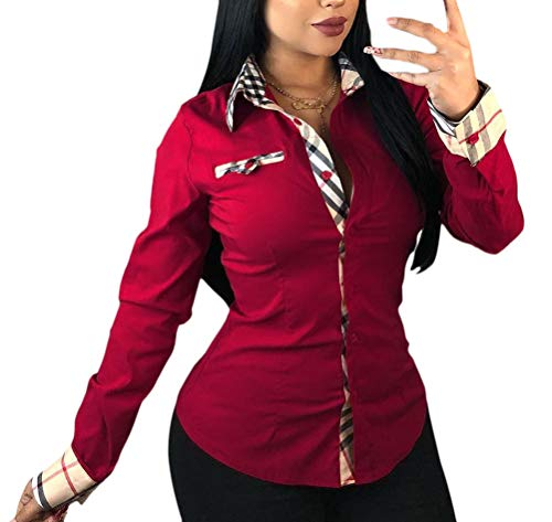 Emmala dames tops geruit lente lange mouwen herfst bovenstuk vintage klassiek stijlvol unicum trendy casual T-shirt hoogwaardig