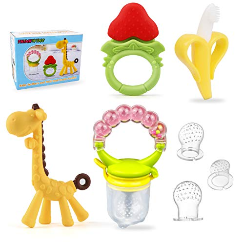Baby Teething Toys & Baby Food Feeders Set - 3pcs BPA Free Teethers Toys for Babies 3-6 Months 6-12 Months Freezer Teether Toys, 1pcs Fruit Feeder Pacifier 3 Sizes Silicone Sacs Baby Gifts