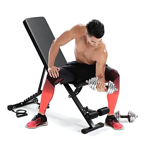 Banco para sentarse, taburete plegable, banco de pesas ajustable con cordón, peso plegable, banco de pesas para entrenamiento de pecho, piernas abdominales de cuerpo completo ⭐