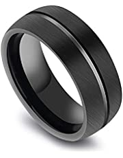 men ring Of titanium Plated black Line in the middle US Size 7
