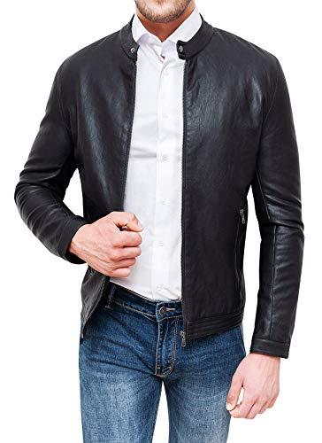 Giubbotto Uomo in Ecopelle Nero Slim Fit Giacca Giubbino Coreana Casual (XL, Nero)