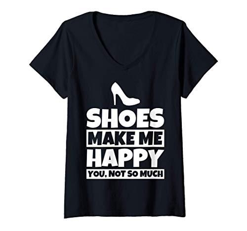 Femme Cadeaux pour les amateurs de chaussures - Humour de chaussur T-Shirt avec Col en V