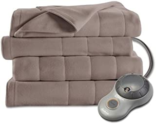 Sunbeam Heated Blanket | 10 Heat Settings, Quilted Fleece, Mushroom, King - BSF9GKS-R772-13A00