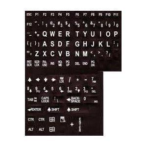 Alphanumerische Ersatz Tastatur, Etiketten, weißen Buchstaben auf schwarzem Hintergrund