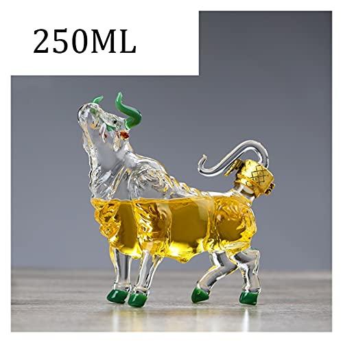 ZSWB Decantador de Whisky Creativo Animal de Vaca Estilo Estilo casero Bar para Licor escocés Bourbon 33.81oz 16.91oz 210417 (Color : 250ML)