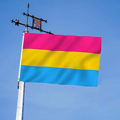 waysad Pansexual Flag Pansexual Orgullo Bandera 5'x3 '(150cm X 90cm) Bandera del Orgullo Bandera De Poliéster Decorativo Bunting, Bandera De Decoración Partido Desfile Orgullo