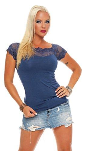 Mississhop 71 Damen Spitzenshirt Spitze Spitzen T-Shirt Bluse Shirt Langarmshirt Kurzarmshirt Blau/Kurzarm