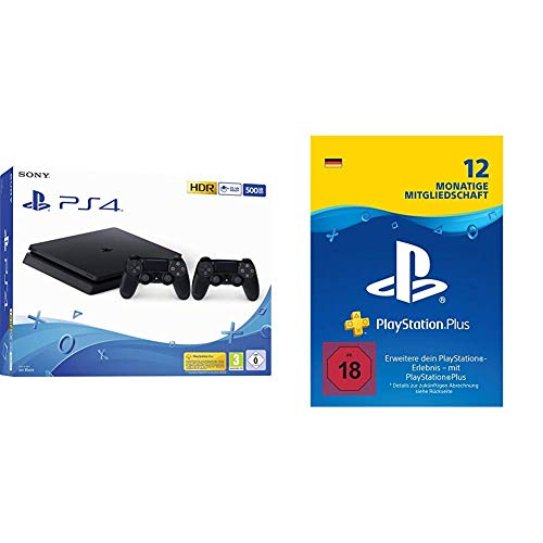 PlayStation 4 - Starter Pack: PS4 Slim Konsole (500GB) + PS Plus Mitgliedschaft (12 Monate)
