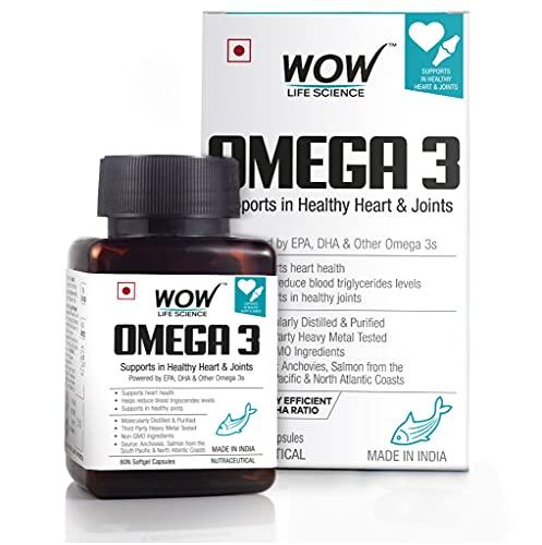 Wow Omega-3 Fish Oil 1000 mg Triple Strength 550 mg EPA 350 mg - 60 Capsules
