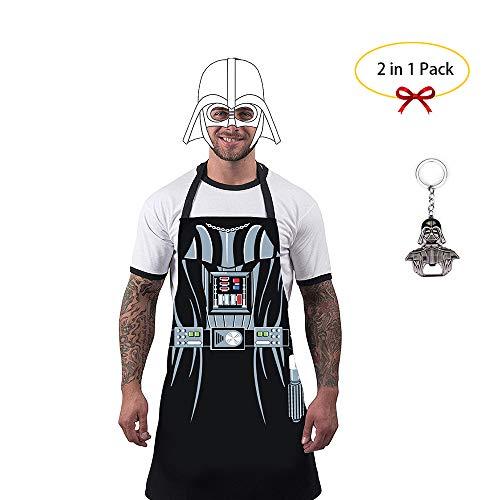 uxosuz Apron Darth Vader Star Wars BBQ Kitchen Cosplay Boyfriend Father Gift with Bottle Opener Set
