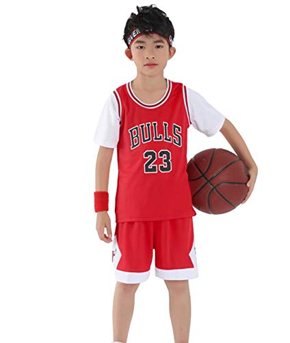 Kinder Basketball Trikot Jordrn Bulls # 23 Anzug, Jungen Mädchen Sommer 2 Stück Weste und Shorts Set Teenager Trainingsanzug Sportbekleidung Basketball Weste Trikot-red-M