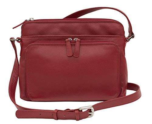 CTM Women's Leather Shoulder Bag Purse with Side Organizer, Red