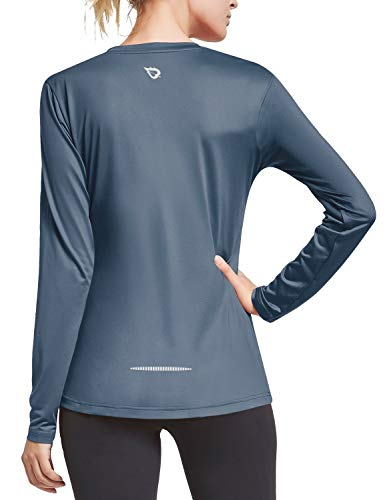 BALEAF Women's V Neck Long Sleeve UV T-Shirts Workout Quick Dry Running Yoga Tops Grey XL