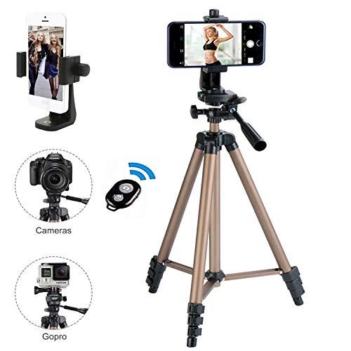 Handy Stativ Kamera Stativ iPhone Stativ Mini Smartphone Stativ mit Handy Halterung und Bluetooth Fernbedienung für iPhone Samsung und Kamera