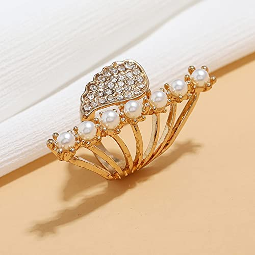 Imitation Pearl Golden Wing Ring Retro Creative Crystal Crown Fingers Opening Adjustable Rings