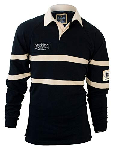 Guinness Traditional Rugby Jersey, Black/Cream, 2XL