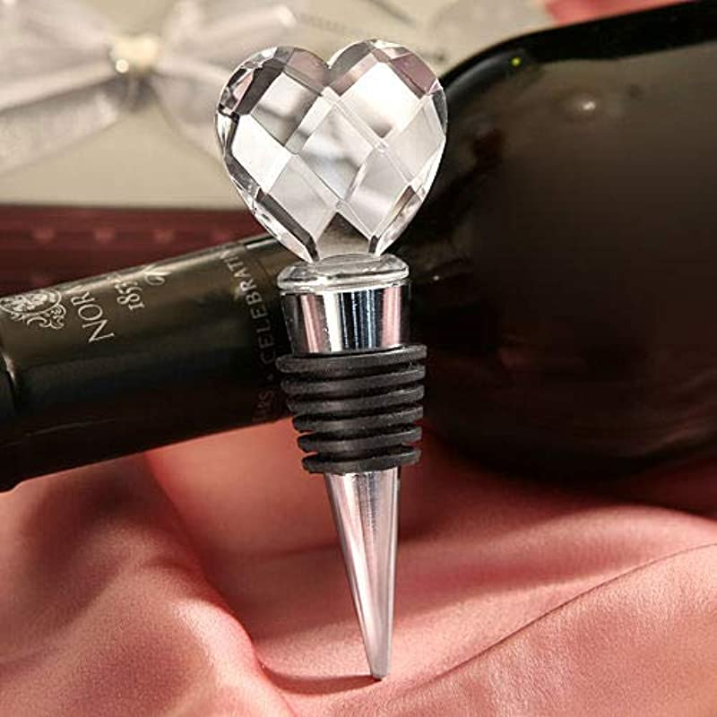 Yamalans Crystal Heart Design Red Wine Bottle Stopper Sealed Cap Home Bar Tool Wedding Favor Party Gift Heart 13 5cm X 7 8cm X 4 8cm