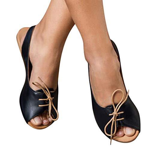 Übergroßer Sandalen für Damen/Dorical Frauen Sommer Retro-Peep-Toe-Sandalen mit seitlicher Abdeckung Damenschuhe Mode einfache PU-Leder Schuhe rutschfest 35-43 EU Ausverkauf (38 EU, Z13-Schwarz)