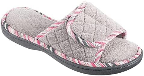 isotoner Womens Diamond Quilted Microterry Mandy Adjustable Slide