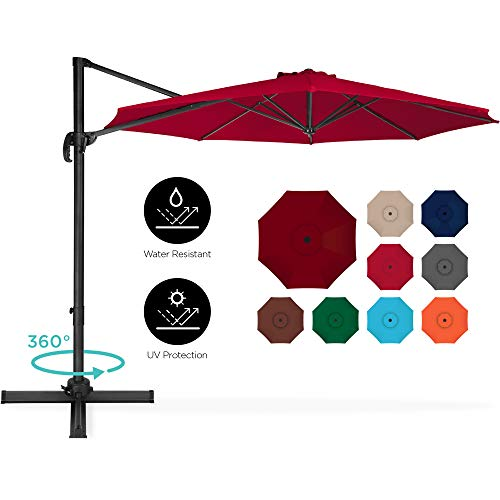 Best Choice Products 10ft 360-Degree Rotating Cantilever Offset Hanging Market Patio Umbrella w/Easy Tilt - Burgundy
